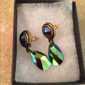 Swarovski Mystic Topaz Drop Pendant Post Earrings